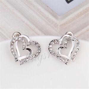 Women's 18K Gold Filled Double Open Hearts Crystal 14mm Stud Post Earrings H614