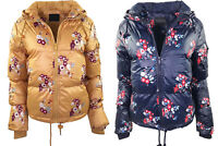 New Womens Floral Padded Puffer Bubble Hooded Warm Thick Jacket Coat