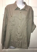 Columbia Sz XL GRT Button Casual Shirt Hike Camp Fish Green Plaid Roll Sleeves