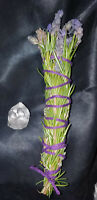 "Lavender & Rosemary Smudge Stick 6"" + Quartz Crystal, Blessed, Magical, Reiki!"