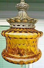 Vintage Falkenstein Glass Hanging Swag Lamp Brass Amber Mid Century Modern
