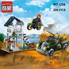 Enlighten 1708 Military Army Motorcycle Car Building Block Toys