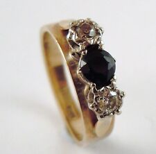 100% Genuine Vintage 9ct. Yellow Gold 0.20ct Diamond and 0.50ct Sapphire Ring6.5