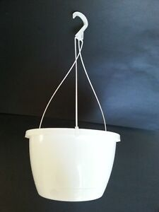 """SET of 10 - 10"""" TRADITIONAL White Plastic Hanging Baskets pots Flower"""