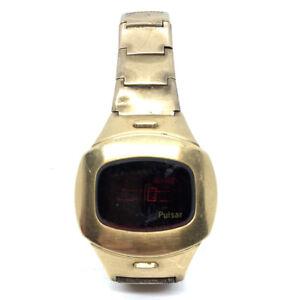 Vintage Men's Pulsar P4 Executive LED Digital Watch 14K Gold Filled Flick Wrist