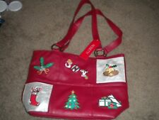 Nicole black Christmas bag with red poinsettias and wreath with NOEL design NWT