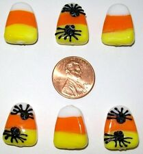 HALLOWEEN CANDY CORN/SPIDER LAMPWORK BEADS-6 PIECES-SPIDERS ON 1 SIDE-ORANGE