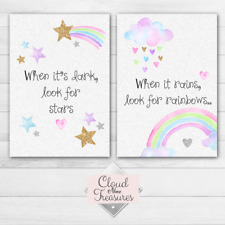Rainbow star glitter DOUBLE PRINT ONLY a4 sparkle pink wall art girly bedroom