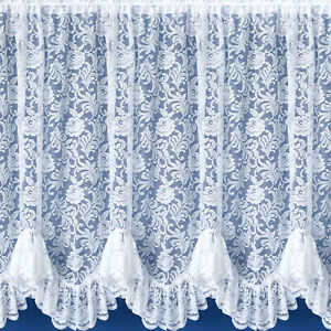 Kew Flounce Floral White Lace Net Curtains Scalloped Bottom - SOLD BY THE METRE