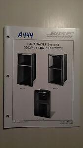 Bose panaray LT speaker systems 3202 4402 9702 II service manual original book