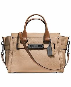 NWT Coach Swagger Carryall Beechwood 34420 Colorblock Pebble Leather $550