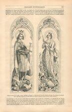 Peinture sur Verre Saint Ferdinand de Castille Adélaïde de Hongrie GRAVURE 1844
