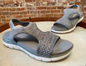 Skechers Grey Knit Cutout Sport Sandals Deja Vu Ankle Strap 10 New