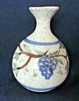 "GRANITE LAKE POTTERY GLP Vase, Grape & Leaf Design 4 3/4"", NH Studio Art Pottery"