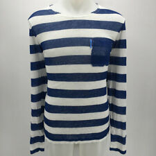 Escales Blue Striped Long Sleeve Men's Tee Size Large