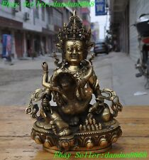 Tibet buddhism Brass Yellow Jambhala Hevajra Exorcism Happy Buddha 2 god Statue