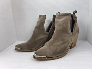Jeffrey Campbell Cromwell Booties Western Ankle Boots Suede Size 8.5 Tan Brown