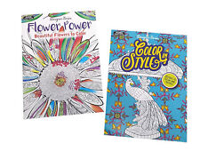 Color in Style & Flower Power Adult Coloring Book Designer Series Books Set of 2