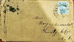 CONFEDERATE STATES #6 5 CENTS USED COVER TO TRINITY COLLEGE NOW DUKE UNIVERSITY
