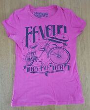 Women's Ladies Pink Skinny Fit T-shirt Famous Stars And Straps Small Bicycle Emo