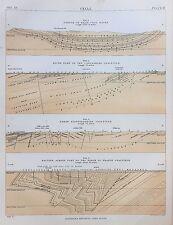Coal Mining, Seams, Engineering, 1890s Antique Colour Print...