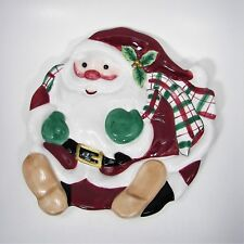 Fitz & Floyd Plaid Christmas Santa Canape Plate Wall Décor 2001-2005 Retired