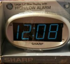 "Sharp digital alarm clock, 1.4"" Blue Display, High/Low Alarm, w/Battery Backup"
