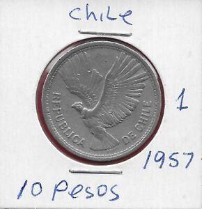 CHILE 10 PESOS UN CONDOR 1957 VF-XF CONDOR IN FLIGHT ,DENOMINATION ABOVE DAT