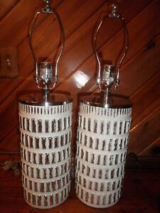 NOS Pair of Table Lamps Pottery Barn Mercury Glass Davin White Silver Mercury