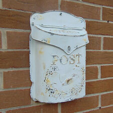 Rustic Vintage White Metal Post Mail Box Wall Mounted Bird Ornate Letters Chic