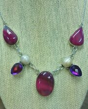 Deep pink botswana agate, pearl, and purple topaz sterling silver art necklace