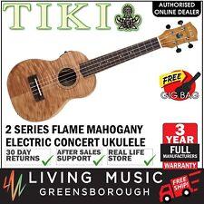 NEW Tiki Mahogany Flame Top Electric Concert Ukulele w/ Gig Bag (Natural Satin)