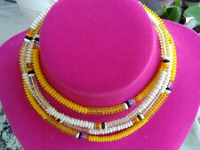 beads of yellow and white and black True Vintage Vogue necklaces (set of 2)