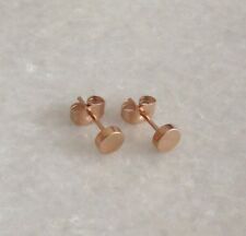 316L Stainless Steel Rose Gold Plated Round Circle Ear Stud Studs Earrings