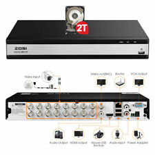 ZOSI 16CH DVR 1080P HDMI Recorder for CCTV Security Camera System Remote View 2T