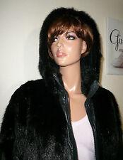 Genuine Black Mink Real Fur Leather Coat Jacket Hood Visone Норка Canada 12 - 14