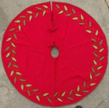 """46"""" Christmas Tree Skirt Red Felt and Lined with Vines and Sequins made in India"""