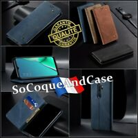Etui coque housse Cloth Jean Cuir PU Leather wallet case cover OPPO A9 (2020)
