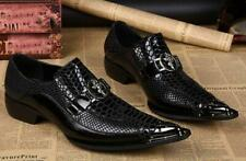 Mens Metal Tip Leather Business pointed Toe slip on Dress Formal Shoes Pumps Hot
