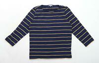 Jaeger Womens Size S Striped Cotton Blend Blue Top (Regular)