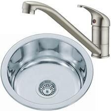 Brushed Set Round Bowl Stainless Steel Inset Kitchen Sink & Mixer Tap KST017 bs