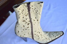 GIANNI BARBATO $995.00 DESIGNO PERFORATED HIGH HEEL SUEDE SPRING BOOTIES, 37.5