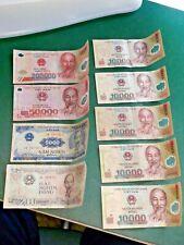 Vietnam Dong Banknoten Konvolut, insgesamt neun Geldscheine, auch Polymer