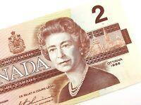 1986 Canada 2 Dollar EGU Prefix Circulated Canadian Elizabeth Banknote Two M243