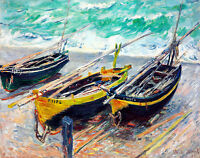 Three Fishing Boats A1+ by Claude Monet High Quality Canvas Print