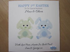 Personalised Handmade Boy's or Twins Easter Card or Baby's 1st First Easter Card