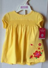 Carters Infant Girl Dress Set Yellow With Flowers & Diaper Cover~9 Months NWT