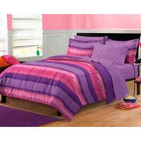 MODERN PURPLE PINK STRIPE SOFT GIRLS BED in BAG COMFORTER SET TWIN FULL QUEEN