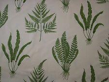 """SANDERSON CURTAIN FABRIC DESIGN """"Woodland Ferns"""" 2 METRES GREEN LINEN MIX"""