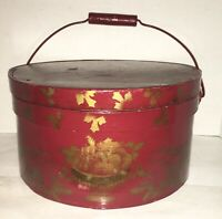 Antique Pantry Box Folk Art Bentwood Wood Sewing Box Paint Stenciled Bail Handle